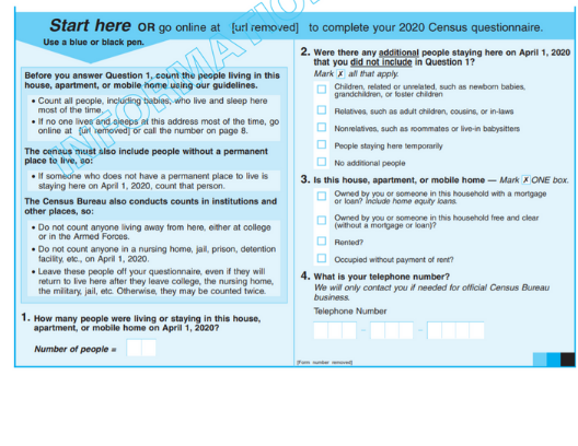 2020 Census form sample